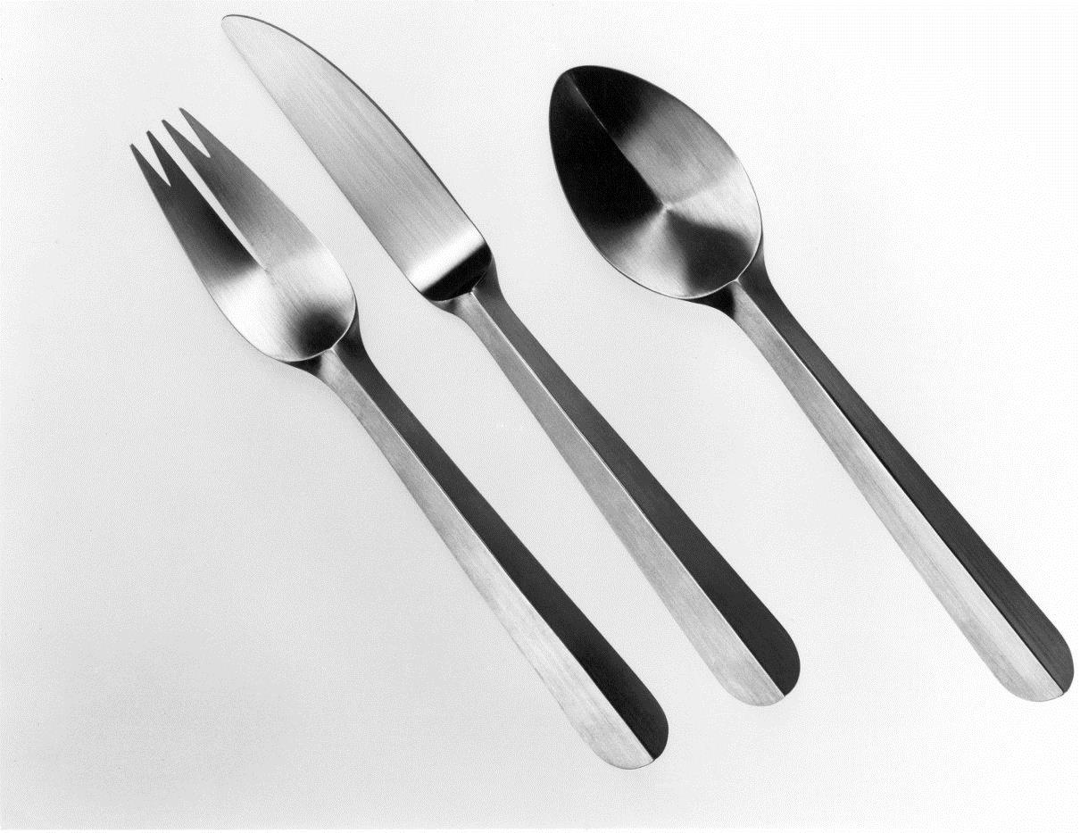 Sterling silver folded cutlery. Designed and executed by silversmith Wouter van Baalen, Schoonhoven 1998